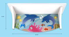 Mermaid Shelf, part of the Mermaid bedroom set.  http://www.supercoolkidsrooms.com #shelf #kidsroom #ocean #dolphin #girls