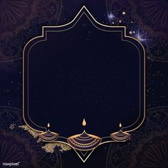 Gold frame on Diwali pattern background vector   premium image by rawpixel.com / Aum Banner Background Hd, Vector Background, Background Patterns, Gothic Background, Diwali Pictures, Diwali Images, Eid Images, Eid Mubarak Wallpaper, Diwali Wallpaper