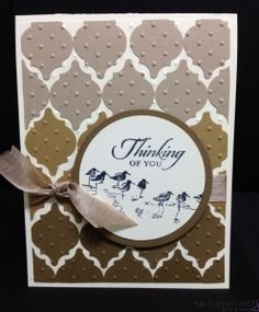 handmade card ... Ombre Punch Style by funone ... monochromatic browns ... luv the look of of the background with Mosaic Punch shapes in rows of bowns ... circle sentiment block with shorebirds ... like it! ...Stampin'Up!
