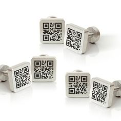 QR Code Cufflinks for the Well-Dressed Retailer Fathers Day Gifts, Gifts For Dad, Gifts For Tech Lovers, Qr Barcode, Groom And Groomsmen Attire, Thank You Messages, Vintage Cufflinks, The Wedding Date, Rings For Men