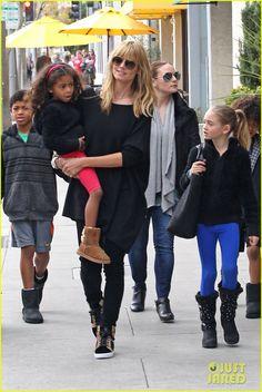 Heidi Klum takes her kids Leni, Henry, Johan and Lou to lunch on February 9, 2014