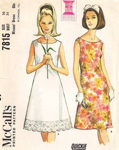 1960's McCall's 1815 Sleeveless Quickie Dress Pattern Bust 36 - Click Image to Close