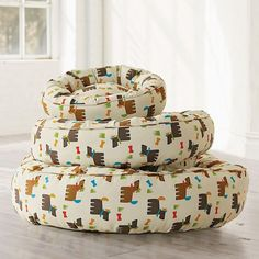 Summer Scotties Round Dog Bed
