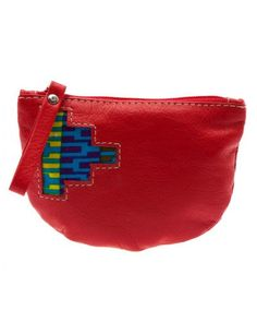 Fire red leather purse by Kushn on Etsy