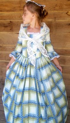 Handmade Historical Civil War Costume Victorian Colonial Pioneer Girl Dress -Blue Sage Patchwork Felicia-Child. $79.99, via Etsy.
