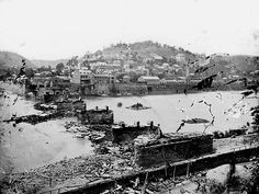 View of Harper's Ferry from across the destroyed railroad bridge