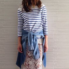 In details #lace #stripes #denim by tashsefton