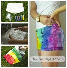 DIY Neon Fashion: DIY Clothes DIY Refashion: Tie-Dye Shorts