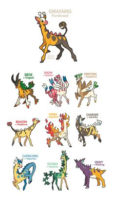 Girafarig Breeding Variants by oxboxer on DeviantArt These are so cute!!!!