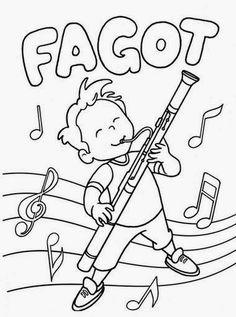 Dibujos para colorear. Maestra de Infantil y Primaria.: Instrumentos de viento para colorear