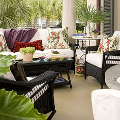 The focal point of your porch should be a seating arrangement where you can come out, relax, and welcome your company