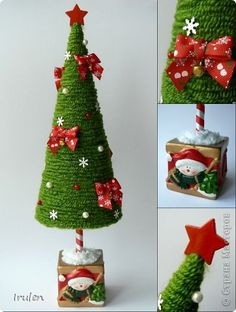Crochet Christmas Trees, Christmas Tree Crafts, Christmas Projects, Simple Christmas, Handmade Christmas, Holiday Crafts, Christmas Holidays, Christmas Ornaments, Christmas Centerpieces