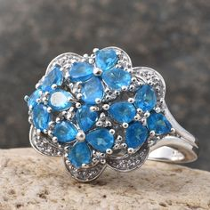 Malgache Neon Apatite and White Topaz Ring in Platinum Overlay Sterling Silver (Nickel Free)