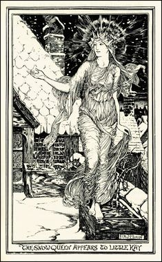 Lovely illustration of the Snow Queen of fairy tale fame from H J Ford. It would look great framed. Its also the perfect illustration to Children's Book Illustration, Digital Illustration, Book Illustrations, Victorian Illustration, Black And White Books, Queen Art, Vintage Fairies, Fairytale Art, Wow Art