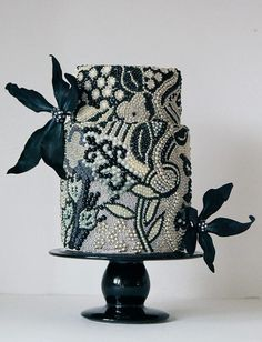#KatieSheaDesign ♡❤ ❥ This dramatic beaded #weddingcake is like a work of art | Brides.com