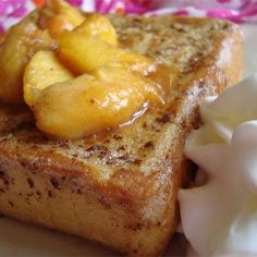 """Mascarpone Stuffed French Toast with PeachesI """"This recipe was wonderful! The subtle flavors of the lemon in the marscapone and the nutmeg in the peaches really made an exciting, yet warm/comforting breakfast."""""""