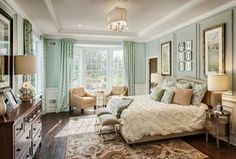 Traditional Master Bedroom with Carpet, Hardwood floors, Ziva 5-piece Comforter Set, Wainscoting, flush light, High ceiling