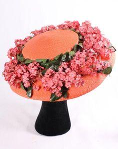 Orange Straw Floral Garden Summer Hat, Barr Co., 1950's.