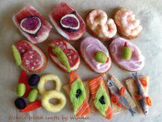 Assorted Spanish Tapas Needle felted Handmade playfood Each