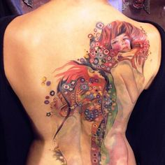 This is real tattoo art!! To do a tattoo with no black outlining? It's unreal how awesome this is!!