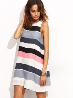 Shop Multicolor Striped Sleeveless Shift Dress online. SheIn offers Multicolor Striped Sleeveless Shift Dress & more to fit your fashionable needs.