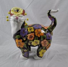 """Whimsiclay Pansy X-Large 15"""" Cat Figurine Amy Lacombe New"""