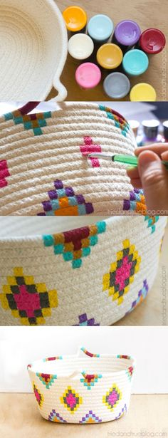 This DIY Kilim-Inspired painted basket tutorial is an easy way to try out a fun new color palette quickly and inexpensively. This craft is so simple to make! Works for wicker or plastic too.