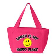 """""""Lunch Is My Happy Place"""" Insulated Lunch Bag (Pink) Insulated Lunch Bags, Reusable Tote Bags, My Happy Place, Back To School, Pink, Entering School, Pink Hair, Back To College, Roses"""