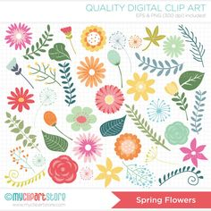 Clipart  Spring Flowers / Mother's Day  Digital by MyClipArtStore