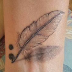 Vintage tattoo feather art semicolon black and grey needle for Semicolon tattoo price