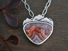 Free at Heart - Crazy Lace Agate and Sterling Silver - Mountain Landscape Pendant with Flying Bird - Pink, Red, and Gray