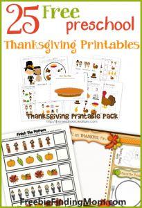 25 FREE Preschool Thanksgiving Printables