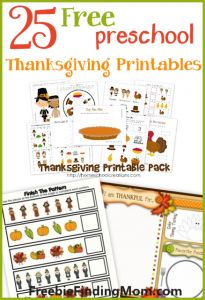 25 FREE Preschool Thanksgiving Printables