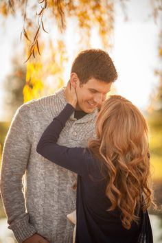 fall engagement session outfit grey sweater for him