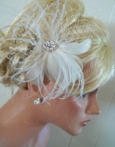Ivory  bridal hair fascinator feathers french net by kathyjohnson3, $39.00