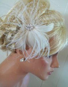ON SALE Bridal fascinator Birdcage bandeau bridal by kathyjohnson3, $57.80
