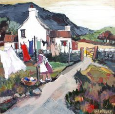 Cottage paintings by a Welsh artist, Beatrice Williams | Art by Beats | Washer Odor? | Sour Smelling Towels? | Stinky Clean Laundry? | http://WasherFan.com | Permanently Eliminate or Prevent Washer & Laundry Odor with Washer Fan™ Breeze™ |#Laundry #WasherOdor