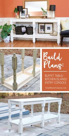 Build a DIY rustic Buffet Table with these free plans. This gorgeous furniture p. Build a DIY rustic Buffet Table with these free plans. This gorgeous furniture piece could be used for an entry console, or a kitchen island! Building Furniture, Furniture Projects, Furniture Makeover, Home Projects, Furniture Stores, Furniture Websites, Furniture Outlet, Cheap Furniture, Discount Furniture