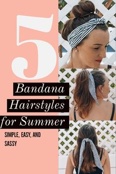 5 hairstyles with a bandana for the summer. #bandanahairsyles #summerhair #summerhairideas #hairideas #hairstyles #bandanahairideas #cutehairstyles #easyhairstyles #simplehairstyles