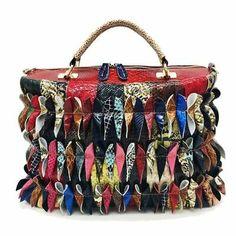 Multi-colored Leather Shoulder/Handbag Adorned with Leather Butterflies Shoulder Handbags, Shoulder Bag, Summer Slippers, Leather Flowers, Gold Rhinestone, Shoes Outlet, Clutch Purse, Boho Fashion, 3 D