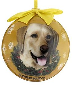Yellow Lab Dog Yellow Ball Ornament ~ personalize with your dog's name ~ http://www.doggiechecks.com/ornaments/Yellow-Lab.php