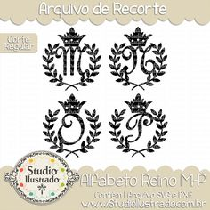 Kingdom Monogram M-P, Alfabeto Reino M-P, Letras, Letters, Fonte, Font, Folhas de Louro, Coroa, Príncipe, Princesa, Rei, Rainha, Hojas de Laurel, Corona, Rey, Reina, Laurel Leaves, Crown, Prince, Princess, King, Queen, Corte Regular, Regular Cut, Silhouette, Arquivo de Recorte, DXF, SVG, PNG