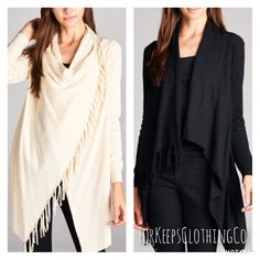 - Self-Fringed Shawl Cardigan in BLACK    - Long sleeve sweater    - Can be worn open, or buttoned on shoulder as wrap shawl cardigan    - 55% Viscose, 45% Nylon    Fits true to size! Small fits 2-4/6, Medium fits 6-8/10, Large fits 10-12/14    $43.50 SHIPPED!! Free Shipping in the USA! 3-5 day turnaround. International orders welcome, rates will apply. | Shop this product here: http://spreesy.com/Forkeepsclothingco/247 | Shop all of our products at http://spreesy.com/Forkeepsclothingco…