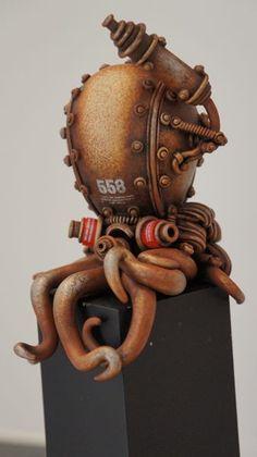 Amazing Robo/Steampunk Octopus sculpture