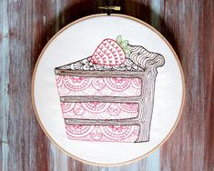 Cake Embroidered Hoop Art-Cake Hoop by ZellyaDesigns on Etsy