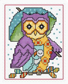 Pinned by Helen Weber Cross Stitch Alphabet Patterns, Cross Stitch Owl, Cross Stitch Pattern Maker, Cross Stitch Cards, Cross Stitch Animals, Cross Stitch Designs, Cross Stitching, Cross Stitch Embroidery, Cross Stitch Pictures