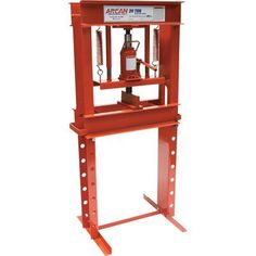 The Arcan Hydraulic Shop Press with capacity has a welded frame to prevent flexing under maximum loads. A heavy-duty return . Garage Tools, Garage Shop, Diy Garage, Hydraulic Shop Press, Metal Worx, Metal Bending Tools, Garage Accessories, Metal Workshop, Steel Fabrication