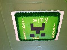 Minecraft cake for Jason's 11th birthday party.   looks simple enough for even me!