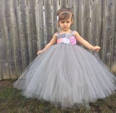 Flower Girl Tutu Dress, Girls Tutu Dress, Wedding Tutu Dress, Tutu, Birthday Tutu, Photo Prop tutu, Flower Girl Sash, Wedding Sash - pinned by pin4etsy.com