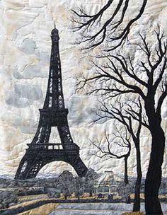 """Landscape Quilt     """"Paris""""     Artist Jeanine Malaney"""